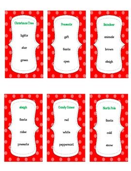 Christmas or winter taboo game with student directions game cards