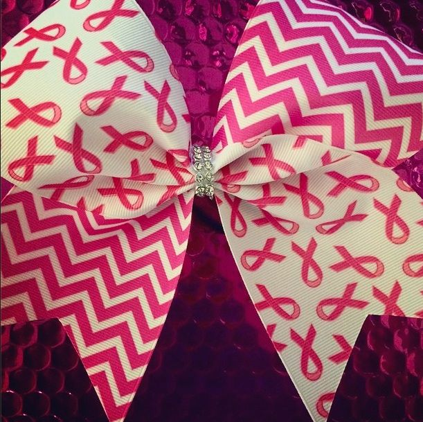 Breast Cancer Awareness Bow: Rhinestone Cheer Bows, Sequin, Glitter, Monogram & Custom Cheer Bows
