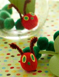 Very Hungry Caterpillar Pom Pom Decorations #very #hungry #caterpillar #birthday #party #theme #buffet #decorate #book #child #children #kid #toddler #baby #pompom #pom #ball #decorate #pipecleaner #pipe #cleaner