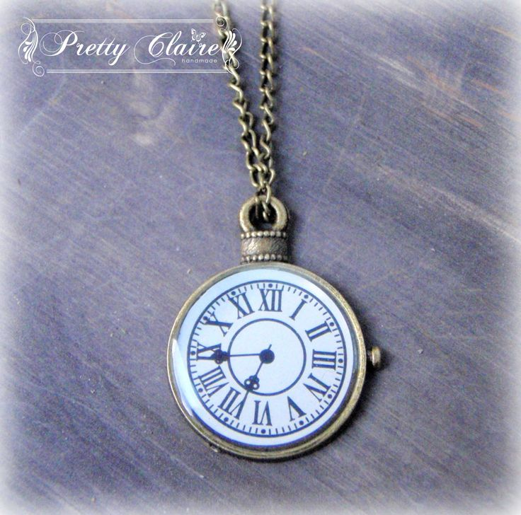 Clock handmade necklace,  clock pendant, vintage pendant, resin jewelry, unique gift, unique jewelry, resin pendant by PrettyClaire on Etsy