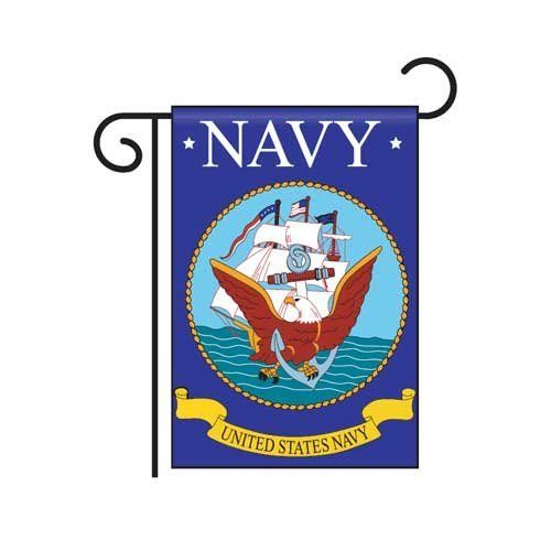 "Navy Garden Flag by US Flag Store. $6.33. Dimensions: 13.5"" x 18"". Appliqued and Embroidered, Double-Sided, 100% Polyester. Navy Garden Flag. Low Cost Shipping Available. This high quality appliqued and embroidered Garden Flag is double sided and made of 100% Polyester. It has a pole hem and includes free window hangers. Dimensions: 13.5"" x 18"""