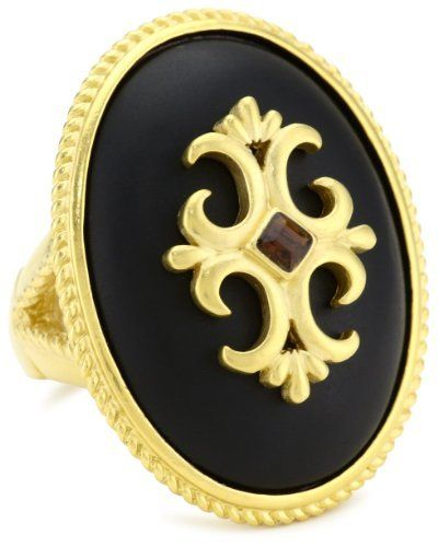 T Tahari Jet Resin Stretch Ring T Tahari. $45.00. Ring adjusts between sizes 7-9. Matte black resin cocktail ring with braided gold border and gold shield and smoky topaz Made in CN. Matte black resin cocktail ring with braided gold border and gold shield and smoky topaz. Made in China