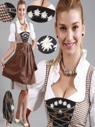 3tlg. Dirndl Edelweiss schwarz braun-kariert mit Bluse und Schuerze Artikelnummer: F7047
