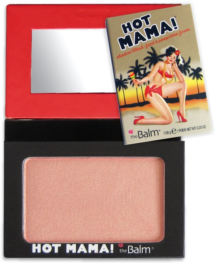 The Balm. Hot Mama. An all-in-one essential, this smart shadow, beautiful blush and subtle highlighter is tucked inside a go-anywhere compact. This pinky-peach hue adds a splash of color to your cheeks and a hint of shimmer to your lids, while illuminating your finest features.