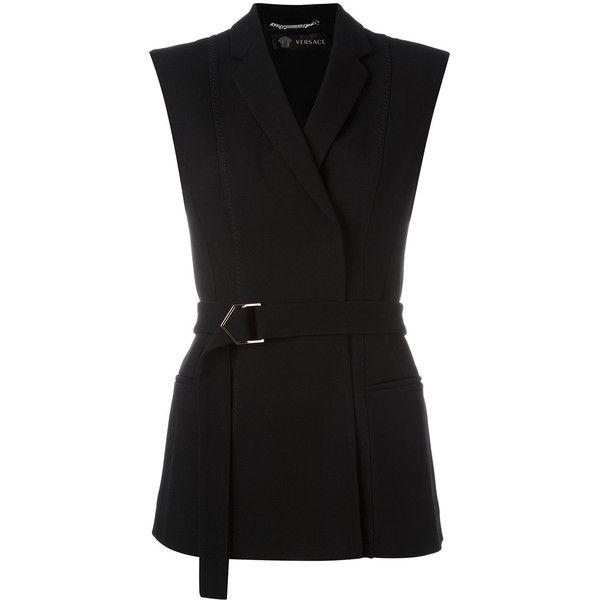 Versace cross button waistcoat (44.970 RUB) ❤ liked on Polyvore featuring outerwear, vests, black, waistcoat vest, pattern vest, sleeveless vest, versace and long sleeveless waistcoat
