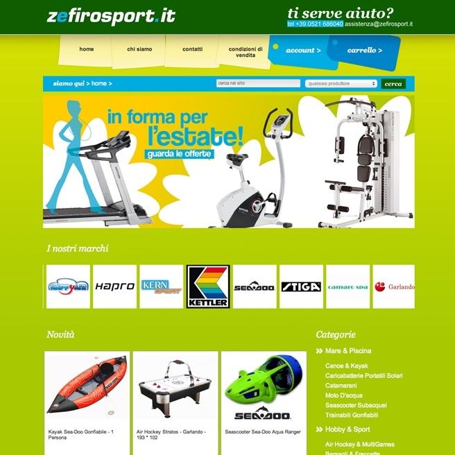 Zefiro Sport, e-commerce website   www.zefirosport.it