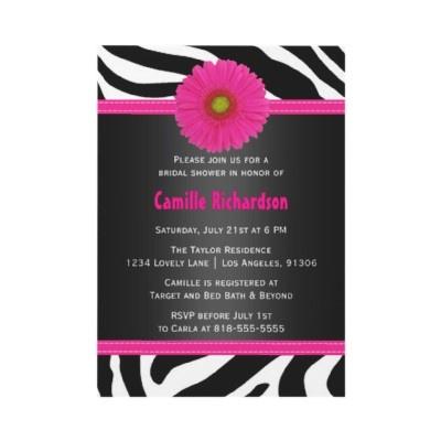 Black and Pink, Zebra Bridal Shower Invitation. $1.50 per invite. #bridalshower #invitations #weddings