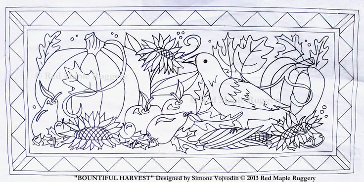 BOUNTIFUL HARVEST Rug Hooking Punch Needle Pattern on Monks Cloth by RedMapleRuggery on Etsy https://www.etsy.com/listing/160616393/bountiful-harvest-rug-hooking-punch