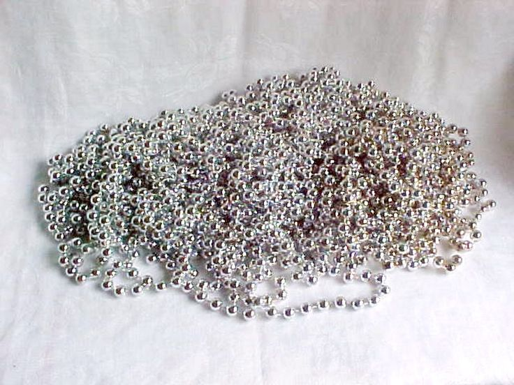 SOLD.....Vintage Silver Mini Bead Garlands - Christmas Tree Garland - ALL SILVERY - Small…