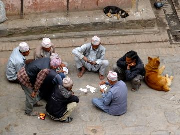 Playing cards in Bhaktapur