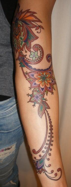 Beautiful Indian style design! henna/iznik inspired brown tattoo done by Barbara Swingaling (Swingaling Tattoo/Classic ink