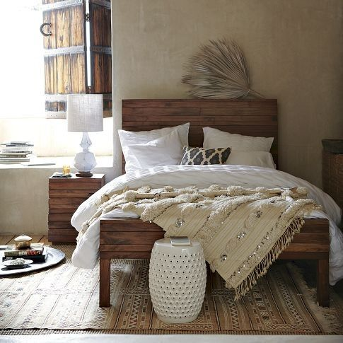 rustic bedroom with moroccan wedding blanketDecor, Westelm, Rustic Bedrooms,  Comforters,  Puff, Beds Frames, Beds Sets, Bedrooms Ideas, West Elm