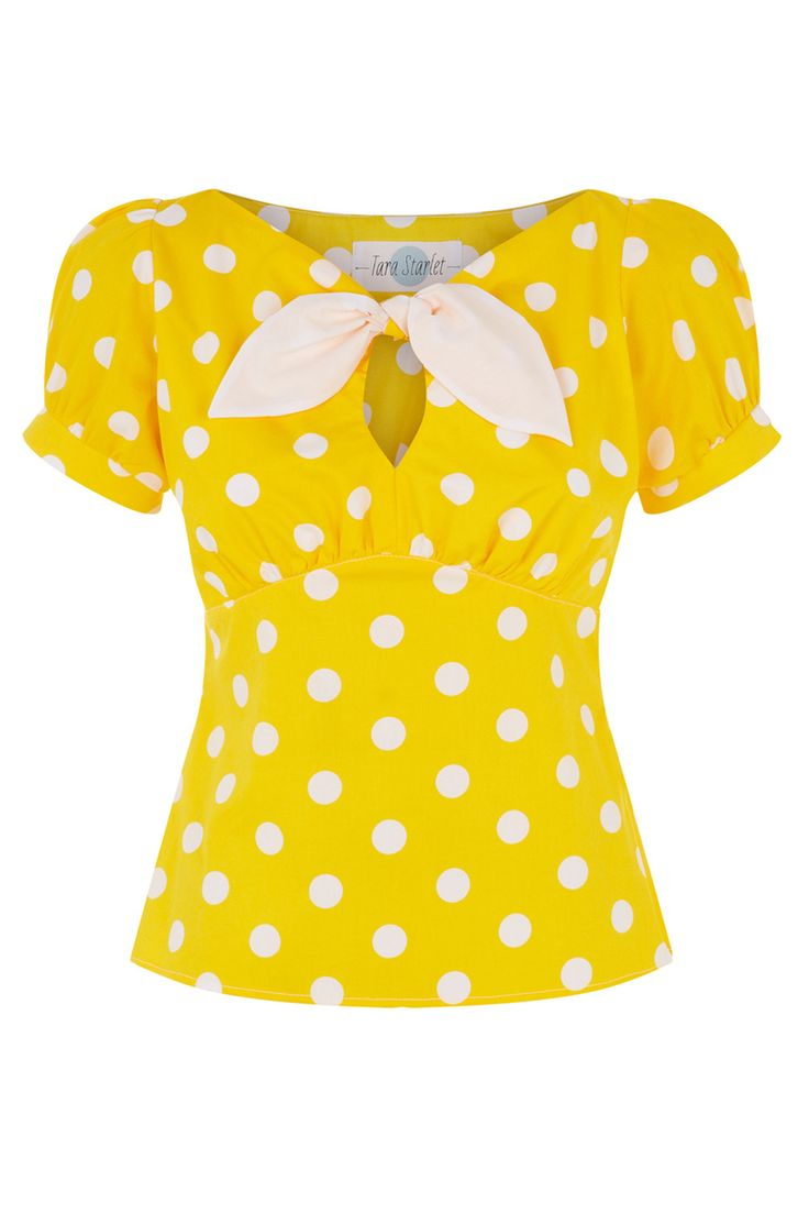 The Peekaboo Top - Yellow Spot Cute pinup fifties style polkadot blouse with keyhole and tie