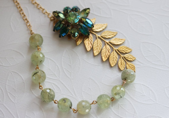 Gemstone Necklace Prehnite Necklace Flower Necklace by madebymoe, $52.00