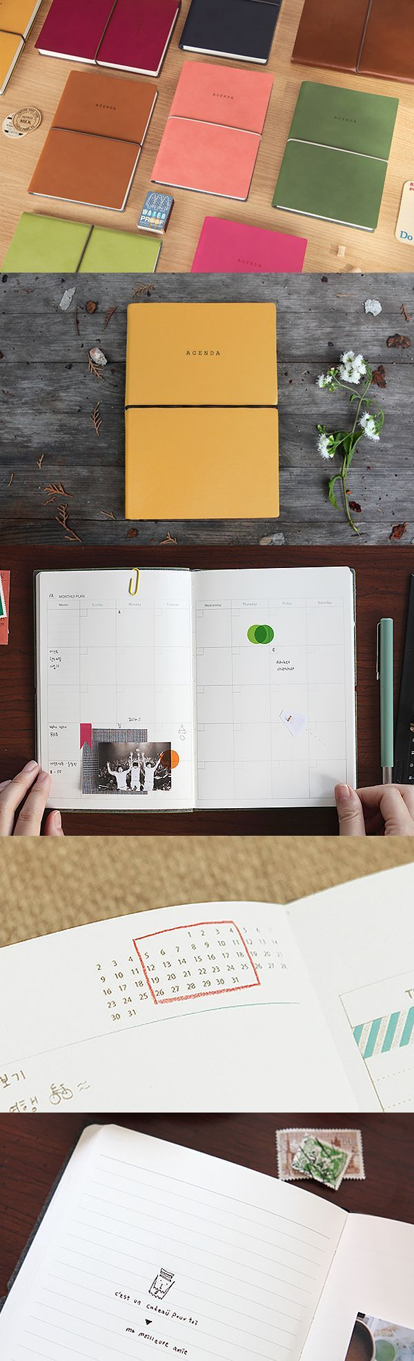 """Get more done with this beautiful large agenda scheduler. You can organize your time yearly, monthly, and weekly. This dateless planner allows you to create your own calendar from scratch and fill in the dates yourself..start whenever! Also includes 6 pages of world maps, 52 blank and lined pages for journaling, 10 pages of """"my favorite"""" lists, 4 pages of checklists, and a section for personal information. Comes in 6 adorable colors…"""