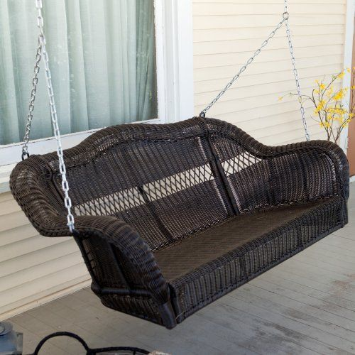 coral coast casco bay resin wicker porch swing with optional cushion porch swings at hayneedle - Wicker Porch Swing