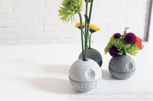 Concrete Death Star vase.