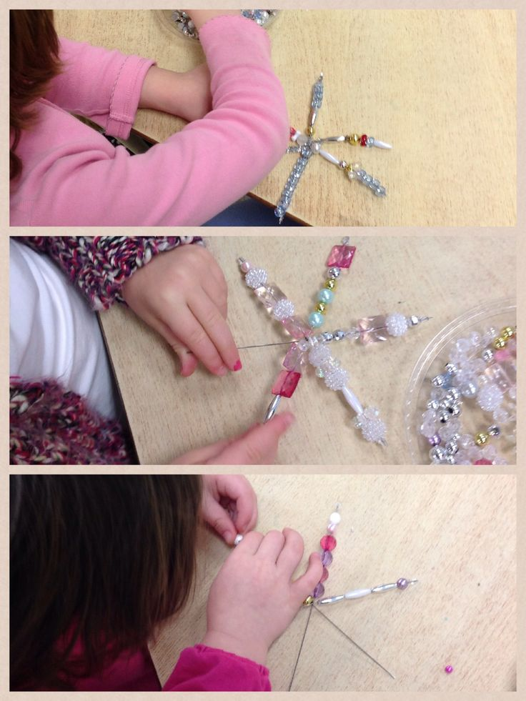 Snowflake Inquiry. Creating snowflakes using beads and wire. http://www.wondersinkindergarten.blogspot.ca/2014/01/what-is-snow-inquiry-about-snow.html