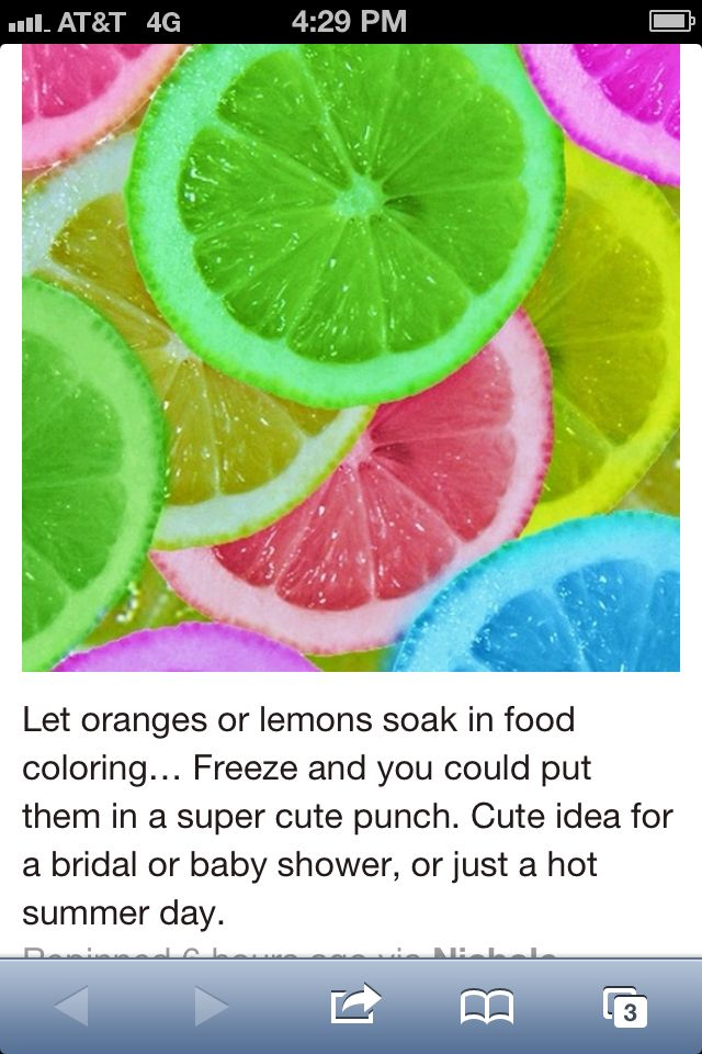 Soak oranges and lemons in food coloring and freeze.