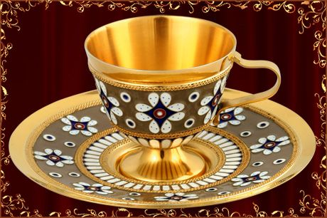 24K Gold Plated Sterling Silver Tea Cup and Saucer Set