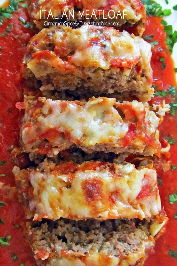 A tender and delicious Italian-seasoned meatloaf with mozzarella and tomato sauce.