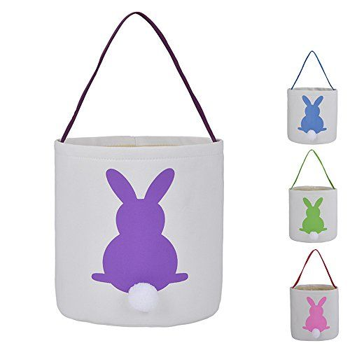 Easter Bunny Bags Rabbit Ears Design Cotton Dual Layer Easter Eggs/Gift Basket Eater Party Tote Bags for Kids -- By X.Sem (Purple)