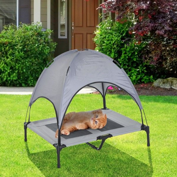 ¿Buscas una cama para que tu mascota duerma al aire libre? Te presentamos nuestra cama para perros o gatos con techo, que le protege de la lluvia y del sol. Es ideal para que tu mascota descanse y se relaje en el jardín, en el patio o en la terraza. Dimensiones totales: L: 92 x 76 x 192cm (LxAnxAl),Medidas de la tela de malla: L: 46 x 26cm (LxAn) Envio GRATIS 24/48h