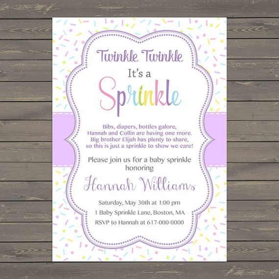 Purple Baby Girl Sprinkle Invitation, Sprinkles Lavender Baby Sprinkle Invitation, Baby Girl Sprinkle, printable Digital JPEG