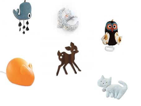 Thème la faune enfantine :   baleine, hibou et lampe biche Ferm living, hirondelle Olivelse, chat Trousselier, lampe souris Egmont Toys.