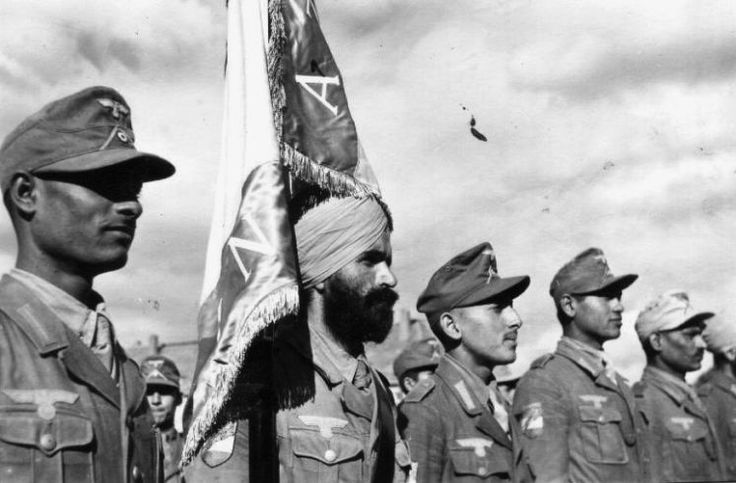 German-sponsored Azad Hind troops in review,                                                                                                                                                     More