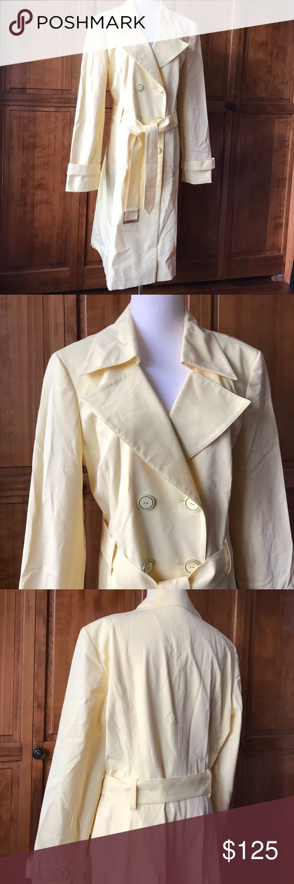 CLASSIQUES ENTIER Designer Trench Coat | Size L Don't miss out on the beautiful designer trench coat. In like new condition. Never worn. The coat does have a lining. Shell is 95% cotton 5% spandex. Lining is 93% polyester 7% spandex. This is a  yellow color like the sun ☀️ classiques entier Jackets & Coats Trench Coats