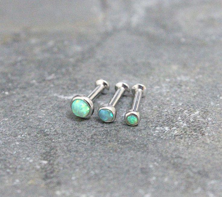 Green Opal Triple Helix ,Triple Forward Helix, Flat Back Surgical Steel Internally Thread Piercing Jewelry 16G 18G, Helix Earring Studs by Purityjewel on Etsy https://www.etsy.com/listing/232886622/green-opal-triple-helix-triple-forward