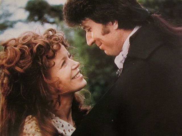 Angharad Rees and Robin Ellis in the BBC's Poldark series.  Rees sadly recently passed away from cancer.   The whole show was excellent but her performance as Demelza was spirited and lovely.