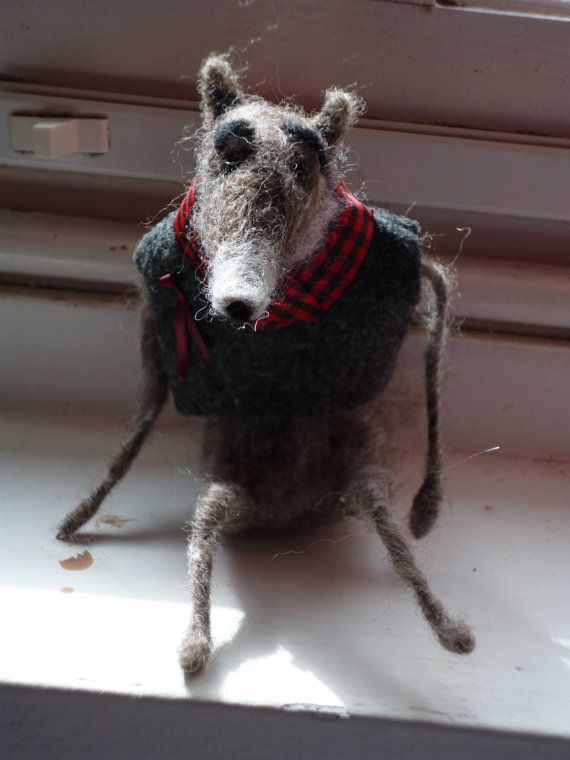 Jean the Wolf: needle felted character sculpture