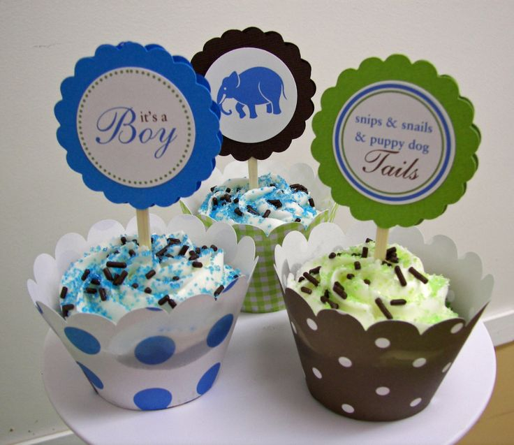 zoo themed baby shower cupcake wrappers picks