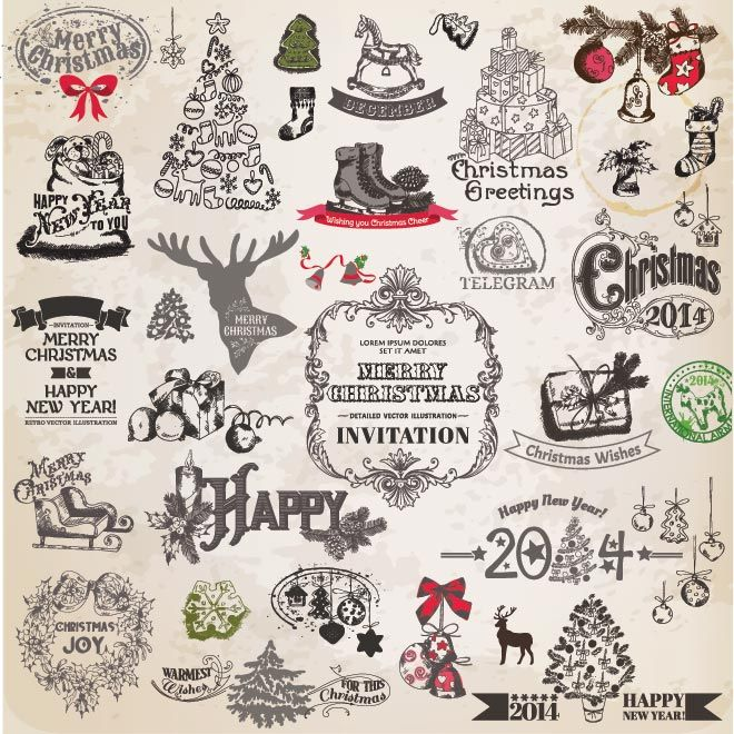 496 best marry chrismis vector graphics images on pinterest vector free vector happy new year merry christmas calligraphic retro style logo design elements illustration stopboris Images