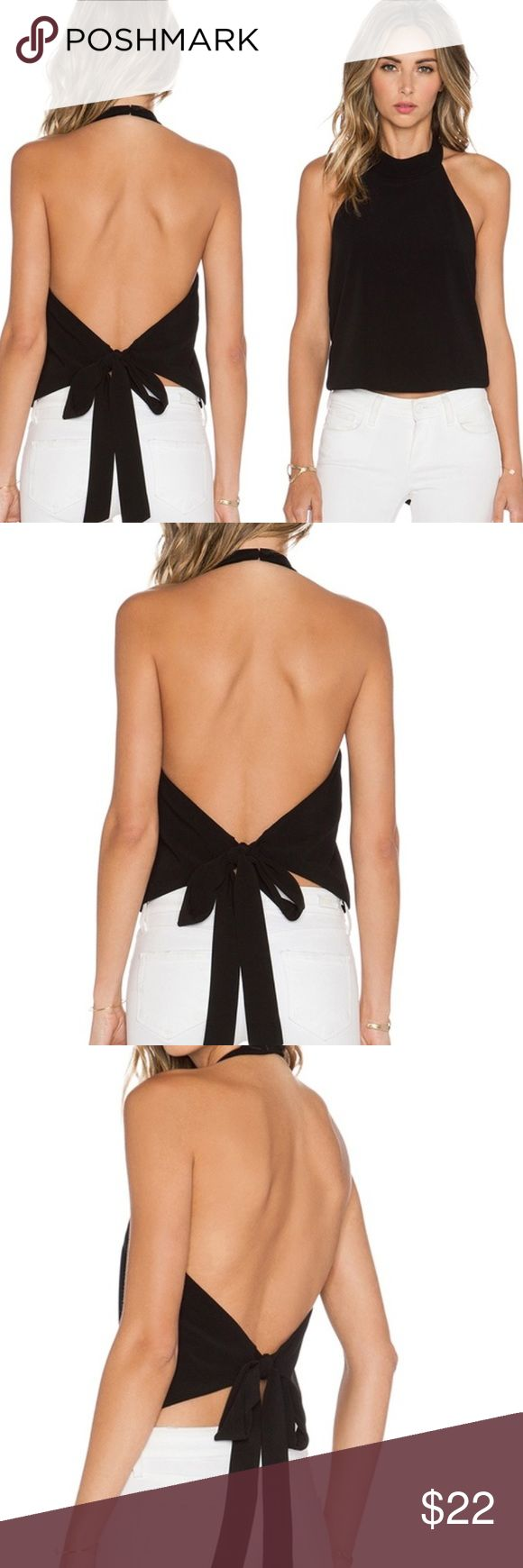 Backless Halter Blouse Chic Polyester top, buttons around the neck and ties around the back Tops Blouses