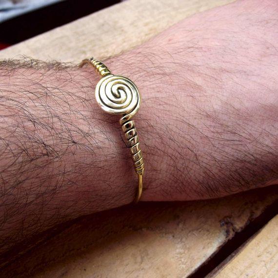 Men's bracelet with spiral Brass men bracelet by silveringjewelry