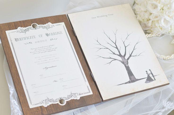 木製ブック型の結婚誓約書とウェディングツリー/木製ブック/結婚誓約書&ウェディングツリー