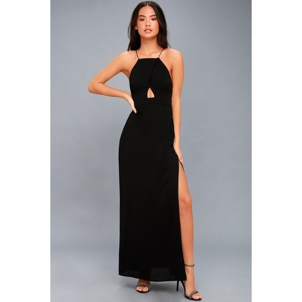 Tavik  Sloan Black Backless Maxi Dress ($115) ❤ liked on Polyvore featuring dresses, gowns, black, maxi dresses, fitted maxi dress, fitted maxi skirt, slit maxi skirts and long maxi skirts