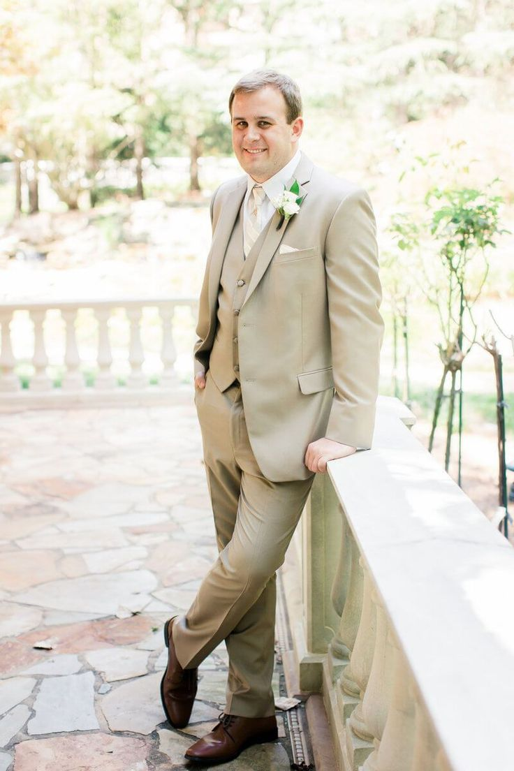 Romantic Neutral Colored Wedding - Tan Groom style