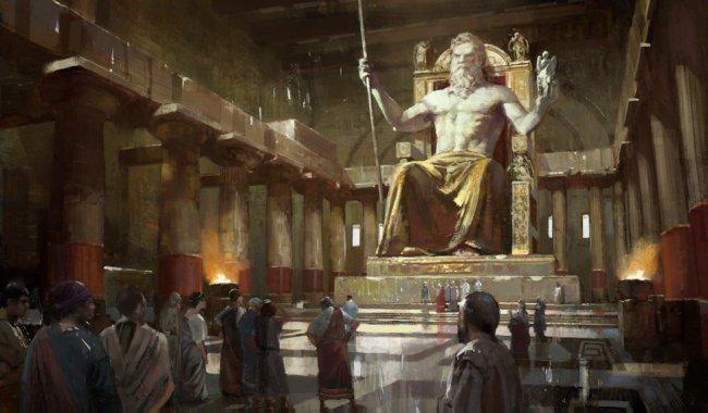 La Estatua de Zeus en Olimpia fue construida en el año 438 antes de Cristo con oro y joyas por el escultor Phidias de Atenas. Destruida cuando el templo se derrumbó después de un terremoto.