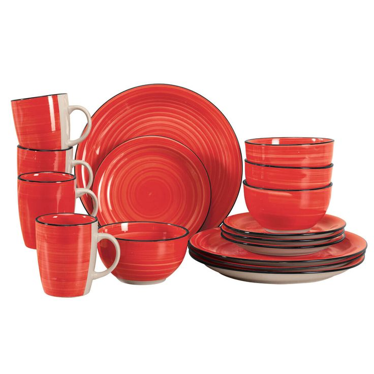 Miles Kimball Red Color Vibes 16-pc. stoneware dinnerware set imparts unforgettable style to your table, all finished in layers of glossy glaze.