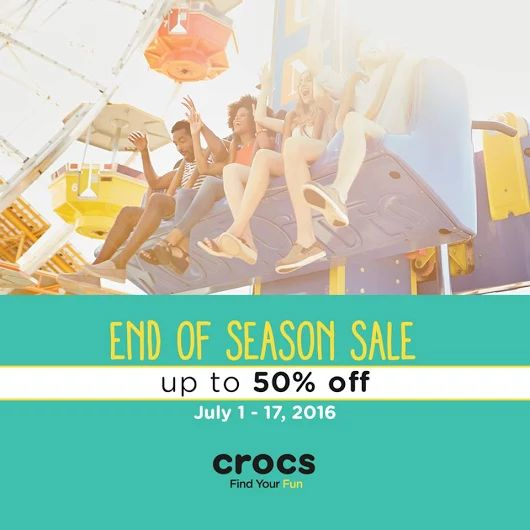 Crocs Philippines brings you their NATIONWIDE END OF SEASON SALE starting from July 1 to 17, 2016!  Enjoy up to 50% OFF on selected items! Visit your nearest Crocs Store and enjoy their sale items!  Sale on select styles only. At any participating Crocs concept and outlet stores nationwide.  http://mypromo.com.ph/