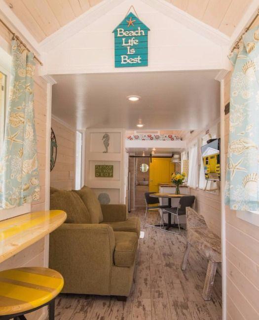 Tiny Coastal Beach House Living Interior Decorating Ideas Featured On Completely Coastal