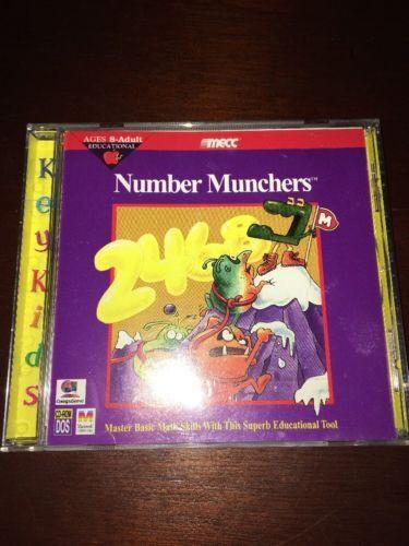 NUMBER MUNCHERS MASTER BASIC MATH SKILLS AGE 8-ADULT DOS PC MAC CD ROM