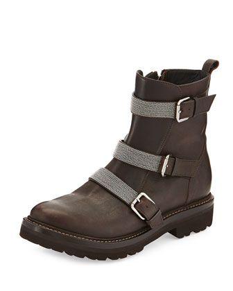 Leather Triple-Strap Moto Boot, Black by Brunello Cucinelli at Neiman Marcus.
