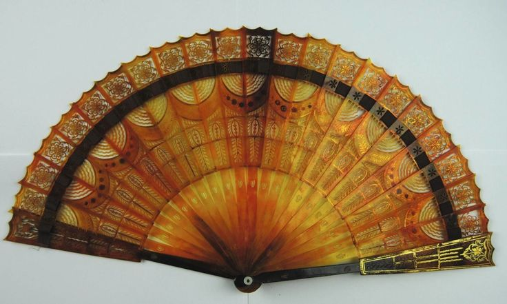 Antique Napoleonic Dyed Horn Brise Hand Fan No RSV DB1 Pierced Carved | eBay