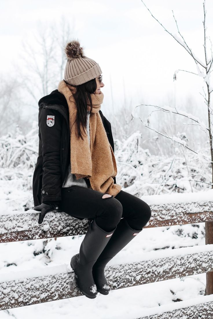 Snow Day Outfit | Styling Hunter Boots | Camel Scarf | Parka | Winter Gear