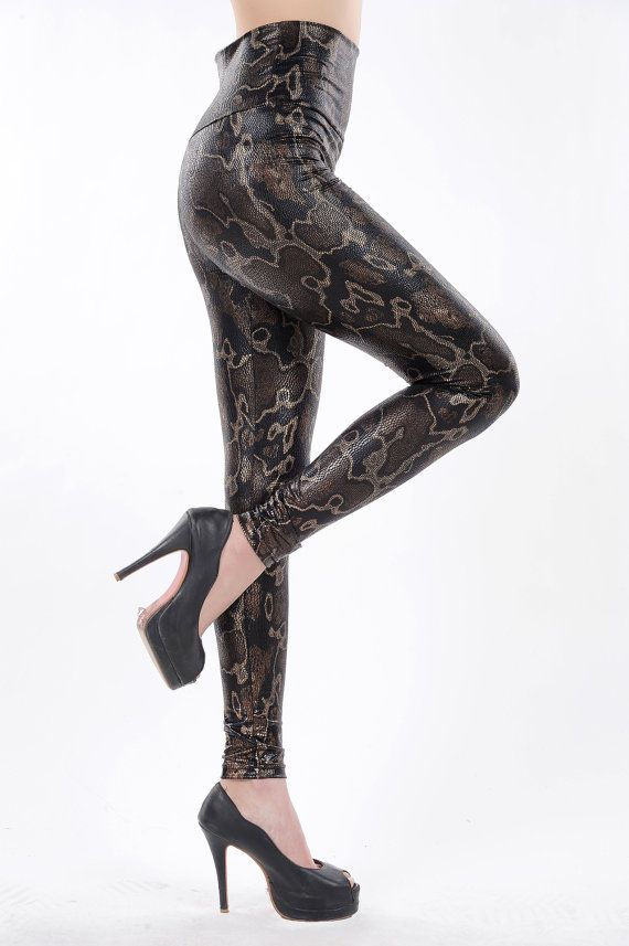 High Waisted Sexy Black & Gold SnakeSkin Faux Leather by dreamergo, $8.99 #EtsyMarketplace